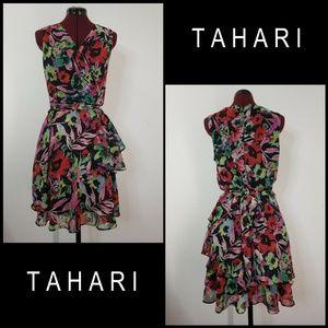 Tahari Woman Sleeveless Floral Layer Dress Size 12